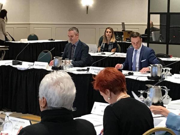 Jeff Saunders appears before Senate Finance Committee