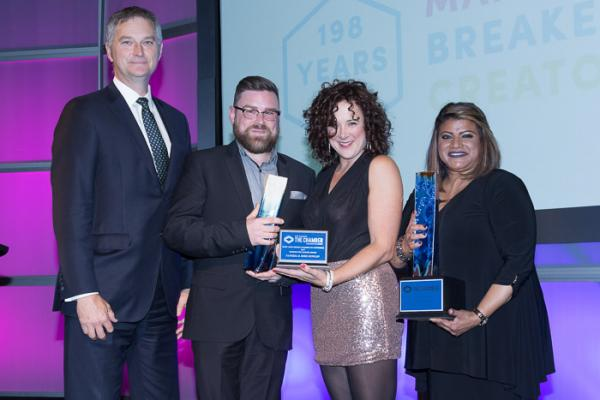 Andrew Logan presents Passion for Change Award at Chamber OBAs