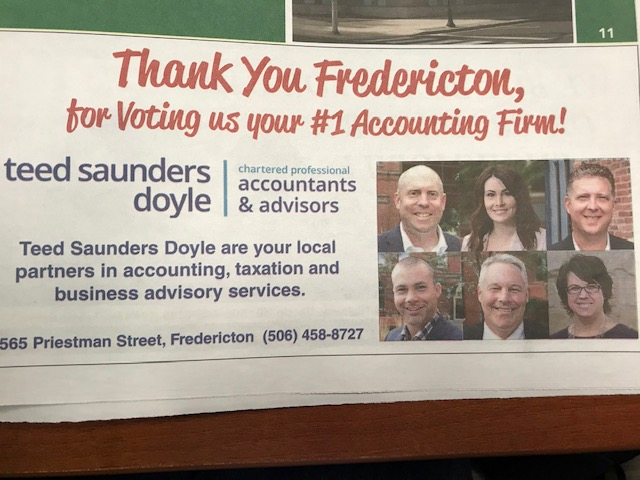 Thanks for voting us #1 accounting firm in Fredericton!